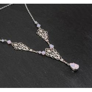 Collier FAUSTINE argenté rose opale