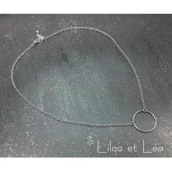COLLIER CERCLE ARGENT MASSIF 925