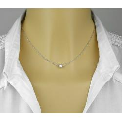 COLLIER PERLE SOLITAIRE ARGENT MASSIF 925