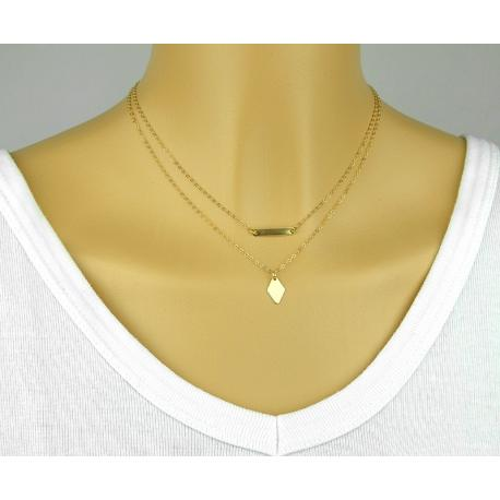COLLIER DOUBLE PLAQUE ET LOSANGE EN OR GOLD FILLED 14 CARATS