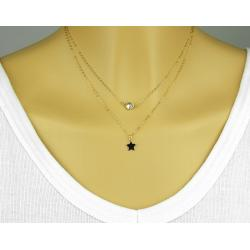 COLLIER DOUBLE ZIRCON ET ÉTOILE EN OR GOLD FILLED 14 CARATS