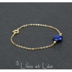 BRACELET PIERRE PALET LAPIS LAZULI, PLAQUÉ OR GOLD FILLED 14 carats