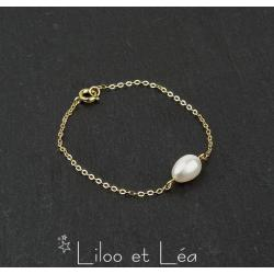 BRACELET PERLE D'EAU DOUCE, PLAQUÉ OR GOLD FILLED 14K