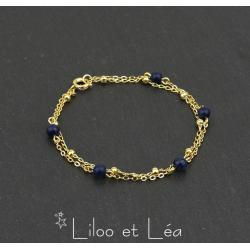 BRACELET 2 RANGS EN LAPIS LAZULI ET CHAÎNE SATELLITE, PLAQUÉ OR GOLD FILLED 14 carats