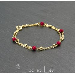 BRACELET 2 RANGS EN CORAIL ROUGE ET CHAÎNE SATELLITE, PLAQUÉ OR GOLD FILLED 14 carats