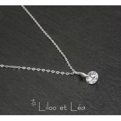 COLLIER PENDENTIF CHARLOTTE, ARGENT MASSIF 925