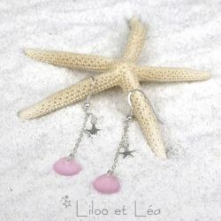 Boucles d'oreilles HAWAII 2, petites pépites de verre de mer pink blossom et pendentifs étoile de mer