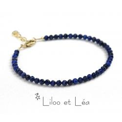 BRACELET PIERRES GEMMES LAPIS LAZULI, PLAQUÉ OR GOLD FILLED
