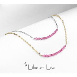 COLLIER PIERRES GEMMES DE TOURMALINE ROSE,plaqué or gold filled 14K ou argent 925