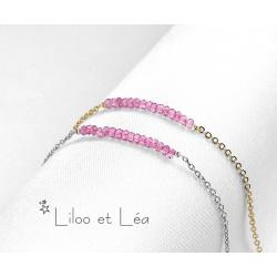 BRACELET PIERRES GEMMES DE TOURMALINE ROSE, plaqué or gold filled 14K ou argent 925