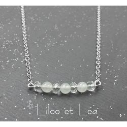 COLLIER GEMSTONE BAR ARGENT MASSIF 925,  JADE BLANC