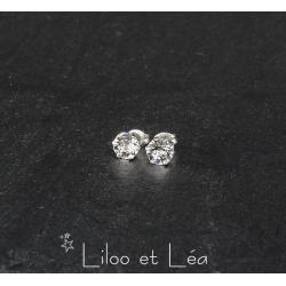 Boucles Oreilles Puce Sertie Cristal Carré Cz 4mm Argent Massif 925 Dolly-Bijoux