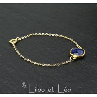 BRACELET PIERRE CARRÉE LAPIS LAZULI, PLAQUÉ OR GOLD FILLED 14 carats