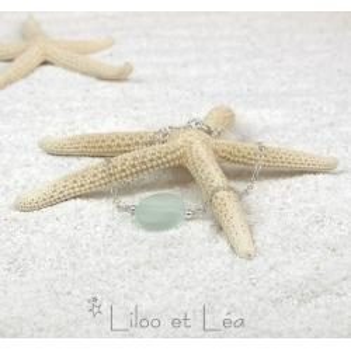 Bracelet HONOLULU, pastille ronde de verre de mer aqua
