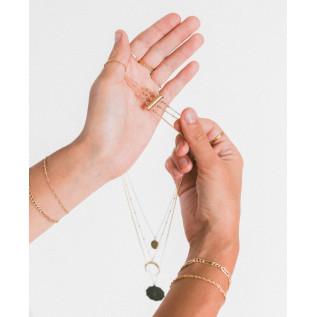 Collier BAHAMAS, pépite en verre de mer pacific blue, pendentif feuille de palmier
